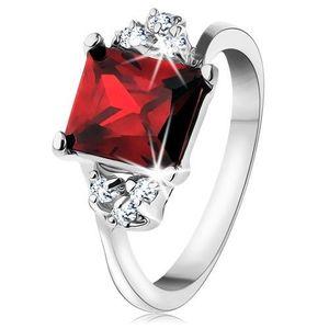 Inel de culoare argintie, zirconiu dreptunghiular de culoare roșie - Marime inel: 49 imagine