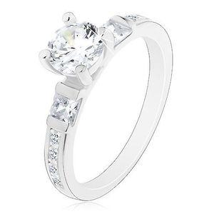 Inel de logodnă din argint 925, zirconiu mare rotund, brațe strălucitoare - Marime inel: 49 imagine