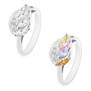 Inel lucios cu braţe ondulate, aripă de înger strălucitoare - Marime inel: 54, Culoare: Amestec imagine