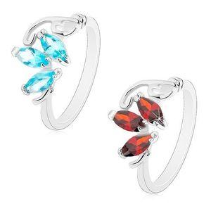 Inel de culoare argintie, trei zirconii în formă de bob, linii curbate, înguste - Marime inel: 51, Culoare: Roșu imagine