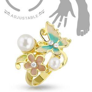 Inel ajustabil pentru deget sau pentru degetul de la picior, de culoare aurie, fluture, floare şi perle imagine