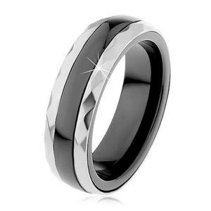 Inel din ceramică de culoare neagră, dungi fațetate din oțel de culoare argintie - Marime inel: 51 imagine