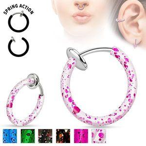 Piercing fals din oțel pentru nas sau ureche, cerc stropit cu culoare - Culoare Piercing: Alb imagine