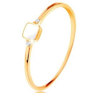Inel realizat din aur galben de 14K - pătrat cu smalț alb, zirconii mici transparente - Marime inel: 49 imagine