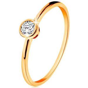 Inel de aur galben de 14K - zirconiu rotund strălucitor în montură lucioasă - Marime inel: 49 imagine