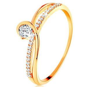 Inel din aur 585 cu brațe despicate interpuse, zirconiu transparent - Marime inel: 49 imagine