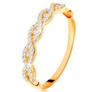 Inel strălucitor din aur galben de 14K - brațe despicate împletite, zirconii - Marime inel: 49 imagine