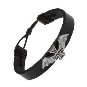 Brățară din piele de culoare neagră, cruce Malteză cu aripi de liliac imagine