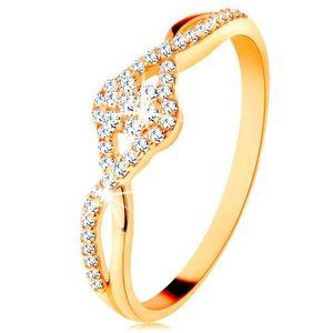 Inel din aur 585 - brațe despicate împletite, floare din zirconiu transparent - Marime inel: 49 imagine