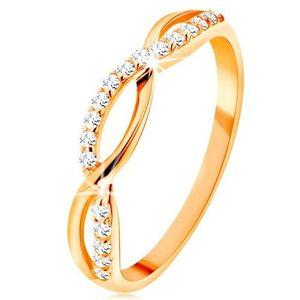 Inel realizat din aur galben de 14K - valuri împletite - neted și din zirconiu - Marime inel: 49 imagine