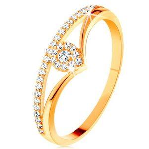 Inel din aur 585 - brațe despicate curbate, picătură din zirconiu transparent - Marime inel: 49 imagine