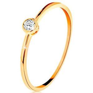 Inel realizat din aur galben 585 - zirconiu rotund, transparent, în montură lucioasă - Marime inel: 49 imagine