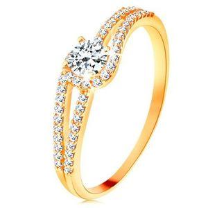 Inel din aur 585 cu brațe strălucitoare despicate, zirconiu transparent - Marime inel: 49 imagine