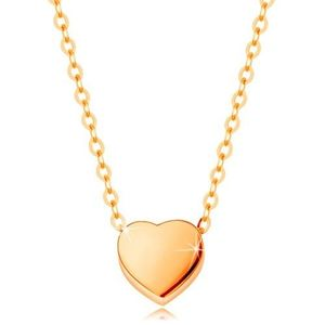 Colier realizat din aur galben de 14K - inimă simetrică lucioasă, lanț cu zale ovale imagine