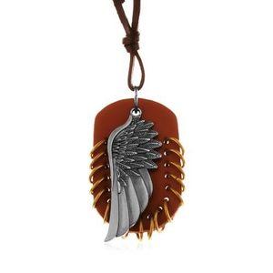 Colier realizat din piele sintetică, pandantiv - oval maro cu cercuri şi aripă de înger imagine