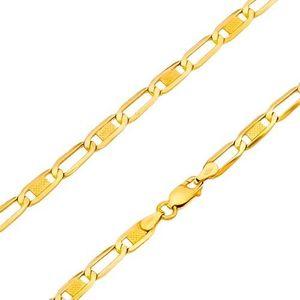 Lanț realizat din aur galben de 14K - zale ovale - goale în interior și cu grid, 500 mm imagine