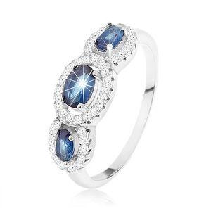 Inel realizat din argint 925, trei zirconii ovale albastru închis în contururi transparente - Marime inel: 50 imagine