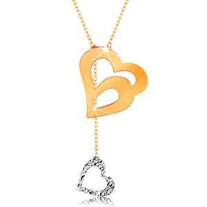 Colier din aur 585 - lanț subțire, contur dublu de inimă și inimă atârnată imagine