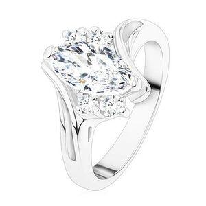 Inel de culoare argintie, zirconiu transparent în formă de bob, brațe curbate - Marime inel: 49 imagine