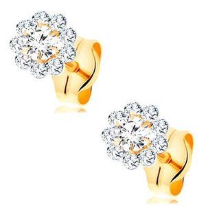 Cercei realizați din aur galben de 14K - floare strălucitoare realizată din zirconii rotunde, transparente imagine