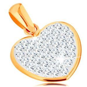 Pandantiv realizat din aur galben de 14K - inimă strălucitoare decorată cu cristale Swarovski imagine