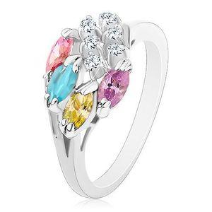 Inel decorat cu zirconii rotunde, transparente și boabe multicolore - Marime inel: 49 imagine