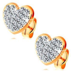 Cercei din aur galben 14K - inimă strălucitoare, transparentă decorată cu cristale Swarovski imagine