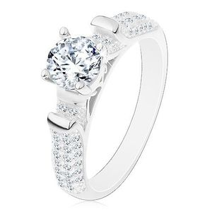 Inel de logodnă din argint 925, brațe strălucitoare cu proeminențe, zirconii transparente - Marime inel: 49 imagine