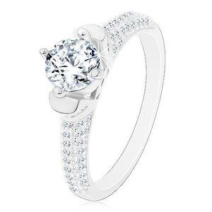 Inel din argint 925, zirconiu rotund transparent în montură decorativă, brațe strălucitoare - Marime inel: 48 imagine