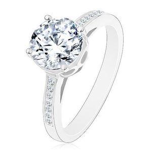Inel din argint 925 - de logodnă, zirconiu mare rotund, transparent în montură decorativă - Marime inel: 48 imagine