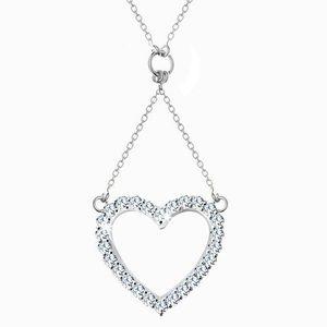 Colier din argint 925, lanț și pandantiv - contur de inimă din zirconiu imagine