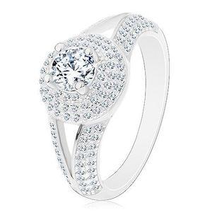 Inel din argint 925 - de logodnă, brațe despicate, cerc strălucitor cu zirconii - Marime inel: 50 imagine