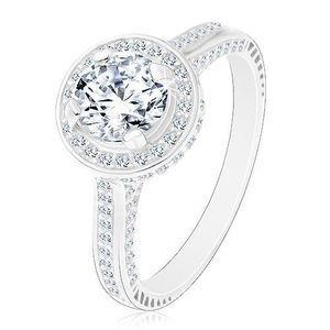 Inel din argint 925, zirconiu rotund lucios și transparent în cerc strălucitor - Marime inel: 48 imagine