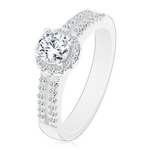 Inel din argint 925, brațe despicate cu zirconii, zirconiu transparent cu margine strălucitoare - Marime inel: 50 imagine