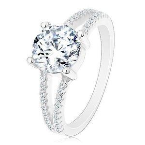 Inel logodnă din argint 925, brațe despicate, cu zirconii, zirconiu rotund strălucitor - Marime inel: 50 imagine