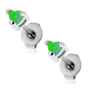 Cercei din oțel de culoare argintie, inimă din opal sintetic de culoare verde, 3 mm imagine