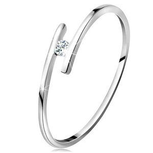 Inel din aur alb 14K - brațe subțiri lucioase, diamant strălucitor transparent - Marime inel: 49 imagine