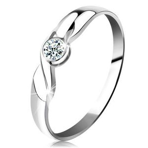 Inel din aur alb 14K - diamant rotund transparent, ondulație, brațe lucioase - Marime inel: 49 imagine