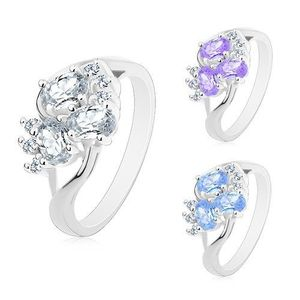 Inel argintiu cu brațe despicate, zirconii transparente, zirconii ovale - Marime inel: 49, Culoare: Transparent imagine