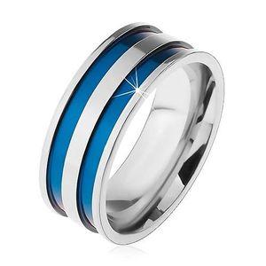 Inel din oțel de culoare argintie, benzi subțiri sculptate, de culoare albastră, 8 mm - Marime inel: 57 imagine
