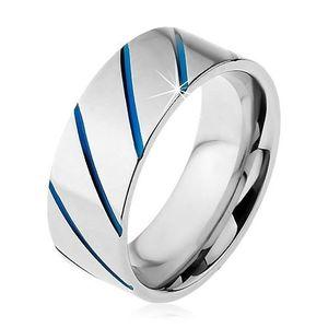 Inel realizat din oțel 316L de culoare argintie, linii diagonale albastre, 8 mm - Marime inel: 57 imagine