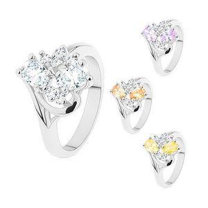 Inel cu brațe ușor îndoite, ovaluri șlefuite și zirconii transparente - Marime inel: 50, Culoare: Transparent imagine