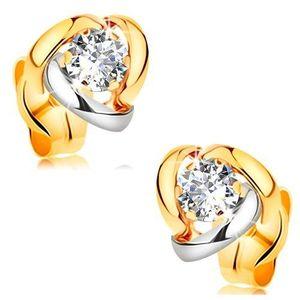 Cercei din aur 14K - diamant sclipitor și transparent înconjurat de arce bicolore imagine