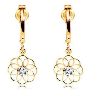 Cercei cu diamant din aur galben 14K - arc lucios și contur de floare cu diamant strălucitor imagine
