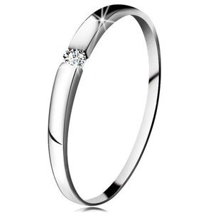 Inel cu diamant din aur alb 14K - diamant transparent, brațe ușor proeminente - Marime inel: 48 imagine