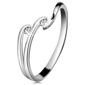 Inel cu diamant din aur alb 14K - două diamante transparente, brațe lucioase - Marime inel: 49 imagine