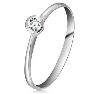 Inel din aur alb 14K - diamant transparent strălucitor în montură lucioasă, brațe înguste - Marime inel: 49 imagine