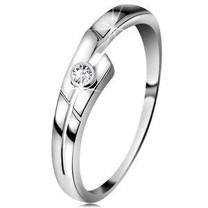 Inel din aur alb 14K cu diamant transparent, brațe despicate - Marime inel: 49 imagine