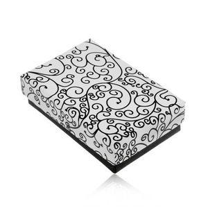 Cutiuță pentru set sau colier în culorile alb-negru, model cu ornamente imagine