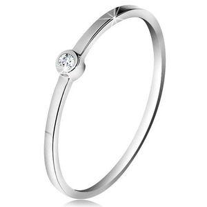 Inel din aur alb 14K - diamant transparent strălucitor în montură lucioasă, brațe subțiri - Marime inel: 49 imagine